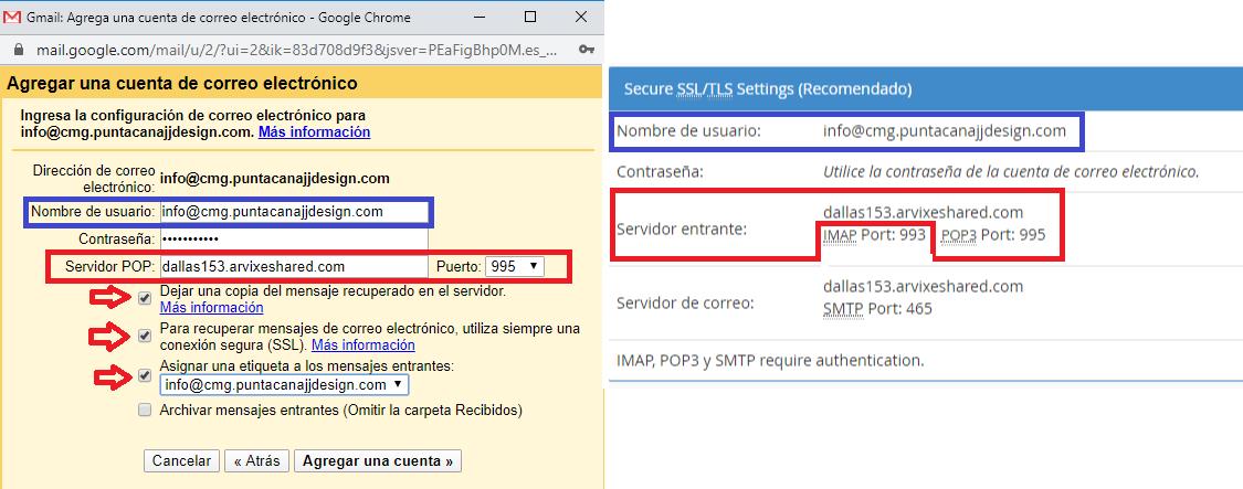Correo electrónico Corporativo GMAIL - Servidor POP3