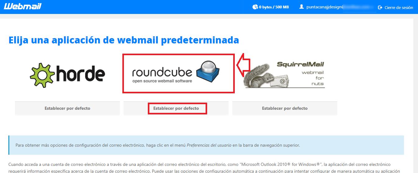Correo electrónico Corporativo página web - webmail Roundcube